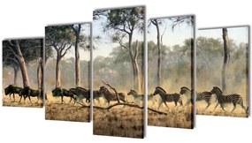 241583 vidaXL Políptico com impressão zebras 200 x 100 cm