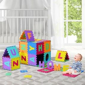HOMCOM 26 peças Tapete Puzzle para Crianças 31x31 cm Tapete macio 2,41 m² Jogo de quebra-cabeças 26 letras para o bebê Espuma EVA Lavável Colorida