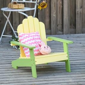 Outsunny Cadeira de jardim para crianças acima de 1 ano de madeira maciça para Varanda Carga máx. 40 kg 51x50x52,5 cm Amarelo