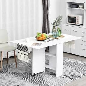 HOMCOM Mesa de cozinha Dobrável de Madeira com Rodinhas 140x80x74 cm Branco