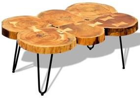242443 vidaXL Mesa de centro 35 cm 6 troncos madeira de sheesham sólida