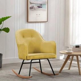 289525 vidaXL Cadeira de baloiço veludo amarelo mostarda