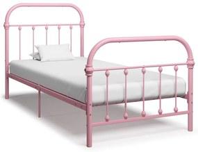 284511 vidaXL Estrutura de cama 100x200 cm metal rosa