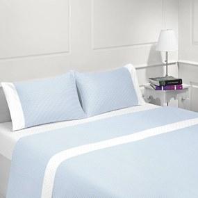 Jogo de lençóis 100% algodão - COIMBRA AZUL da Casa&Algodão: Cama 150cm - 1 sábana encimera 240 x 290 cm + 1 sábana bajera ajustable 150 x 200 + 30 cm + 2 fundas almohada 50x70 cm