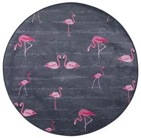 Tapete redondo ø 120 cm padrão flamingo KERTE