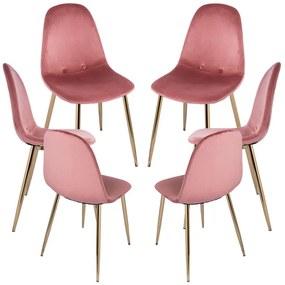 Pack 6 Cadeiras Teok Velvet Buttons Pernas Douradas
