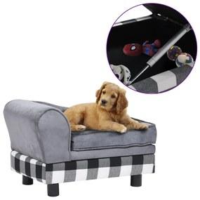 Sofá para cães 57x34x36 cm pelúcia cinzento