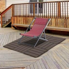 Outsunny Pisos para áreas externas 30x30 Pacote de 9 peças Cobre 0,81 m² Marrom
