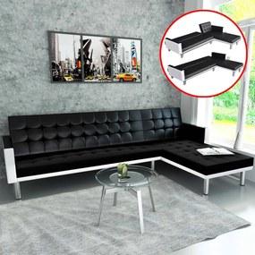 244328 vidaXL Sofá-cama em forma de L, couro artificial,  preto