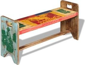 Banco em madeira reciclada maciça 100x30x50 cm