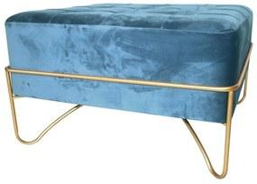 Banqueta DKD Home Decor Azul Poliéster Espuma Metal Dourado Madeira MDF (80 x 80 x 47 cm)