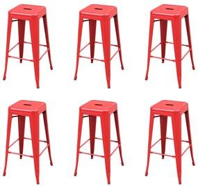 3052639 vidaXL Bancos de bar 6 pcs aço vermelho