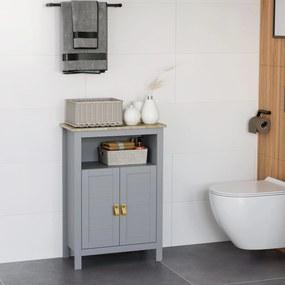 Kleankin Armário de banheiro para armazenamento Armário de piso com 2 portas e prateleiras internas ajustáveis para cozinha Quarto Sala de estar 59x30x85 cm Cinza