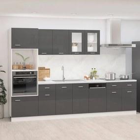 3067630 vidaXL 7 pcs conj. armários cozinha contraplacado cinzento brilhante