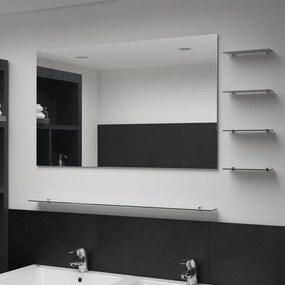 Espelho de parede com 5 prateleiras 100x60 cm prateado