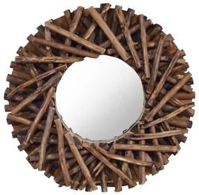 288801 vidaXL Espelho de parede redondo 40 cm madeira de teca