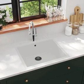 147072 vidaXL Lava-louça cozinha c/ orifício extravasamento granito branco