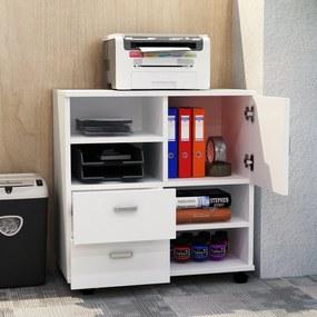 HomCom Armário Branco com rodas móvel madeira multifunções para sala de estar ou cozinha 60 x 35 x 65 cm
