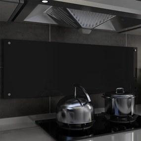 249493 vidaXL Painel anti-salpicos de cozinha preto 120x40cm vidro temperado