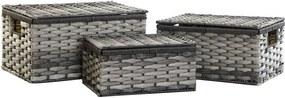 Conjunto de Cestas DKD Home Decor Cinzento PVC Metal (3 pcs)