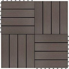 Ladrilhos de pavimento 22 pcs WPC 2m² 30x30 cm castanho-escuro