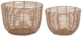Kave Home - Set Dalina de 2 cestos redondos 100% ratã com acabamento natural