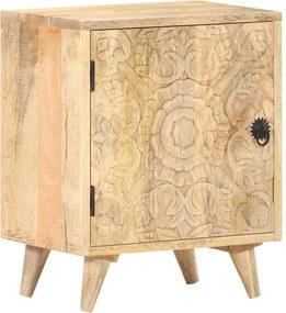 Mesa cabeceira esculpida 40x30x50 cm madeira mangueira maciça
