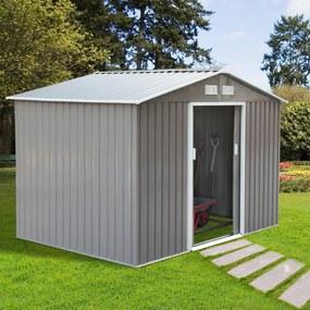 Outsunny Galpão de Jardim de Metal para armazenamento de Ferramentas 277x191x192cm Aço Cinza