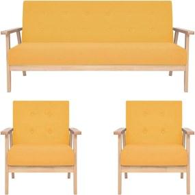 3 pcs conjunto de sofás tecido amarelo