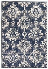 133004 vidaXL Tapete moderno com design de caxemira 140x200 cm bege/azul