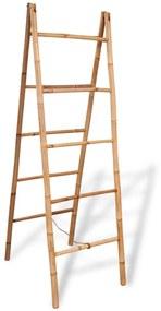 243714 vidaXL Escada toalheiro dupla com 5 degraus, bambu, 50x160 cm