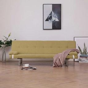 282188 vidaXL Sofá-cama com duas almofadas poliéster verde
