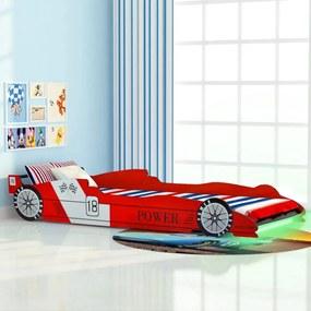 243936 vidaXL Cama carro de corrida LED para crianças 90x200 cm vermelho
