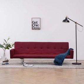 Sofá-cama com apoio de braços poliéster vermelho tinto