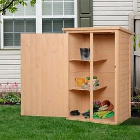 Outsunny Armário de jardim em madeira Gabinete de ferramentas ao ar livre com 2 prateleiras e telhado asfáltico 75x56x115 cm
