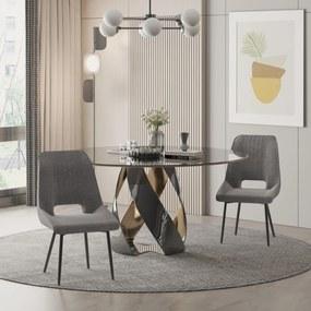 HOMCOM Conjunto de 2 Cadeiras de Sala de Jantar Estofadas em Linho Transpirável com Assento e Encosto Acolchoados Pés de Metal 59,5x50,5x92cm Cinza