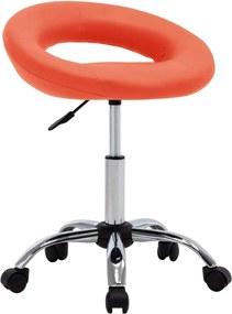 Cadeira de Trabalho com Rodas Couro Artificial Laranja