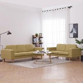 276862 vidaXL 2 pcs conjunto de sofás tecido verde