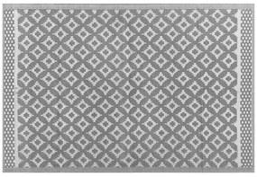 Tapete de exterior 120 x 180 cm padrão geométrico cinza THANE