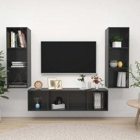 3079753 vidaXL 3 pcs conjunto de móveis de TV contraplacado cinzento brilhante