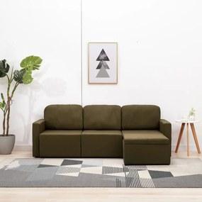 288785 vidaXL Sofá-cama modular de 3 lugares tecido castanho
