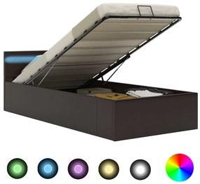285552 vidaXL Cama hidráulica c/ arrumação LED 90x200cm couro artifi. cinza