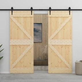 3057581 vidaXL Porta de correr com ferragens 80x210 cm madeira de pinho maciça