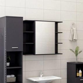802614 vidaXL Armário casa banho c/ espelho 80x20,5x64cm contraplacado cinza