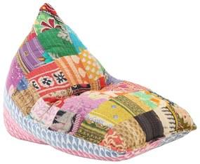 287727 vidaXL Sofá/pufe retalhos de tecido multicolor