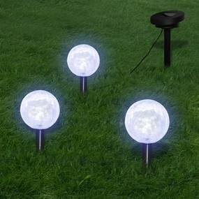 Candeeiros globo de jardim 3 pcs LED com estacas e painel solar