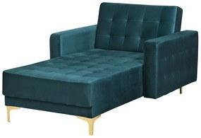Sofá chaise longue reclinável em veludo verde pretóleo ABERDEEN