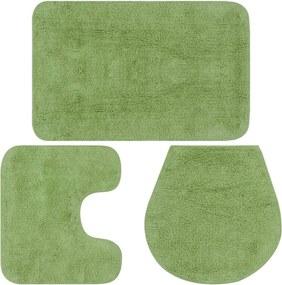 Conjunto tapetes de casa de banho 3 pcs tecido verde