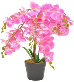 280166 vidaXL Planta orquídea artificial com vaso 60 cm rosa