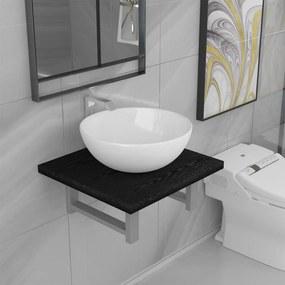 279319 vidaXL Conjunto de móveis de casa banho 2 peças cerâmica preto